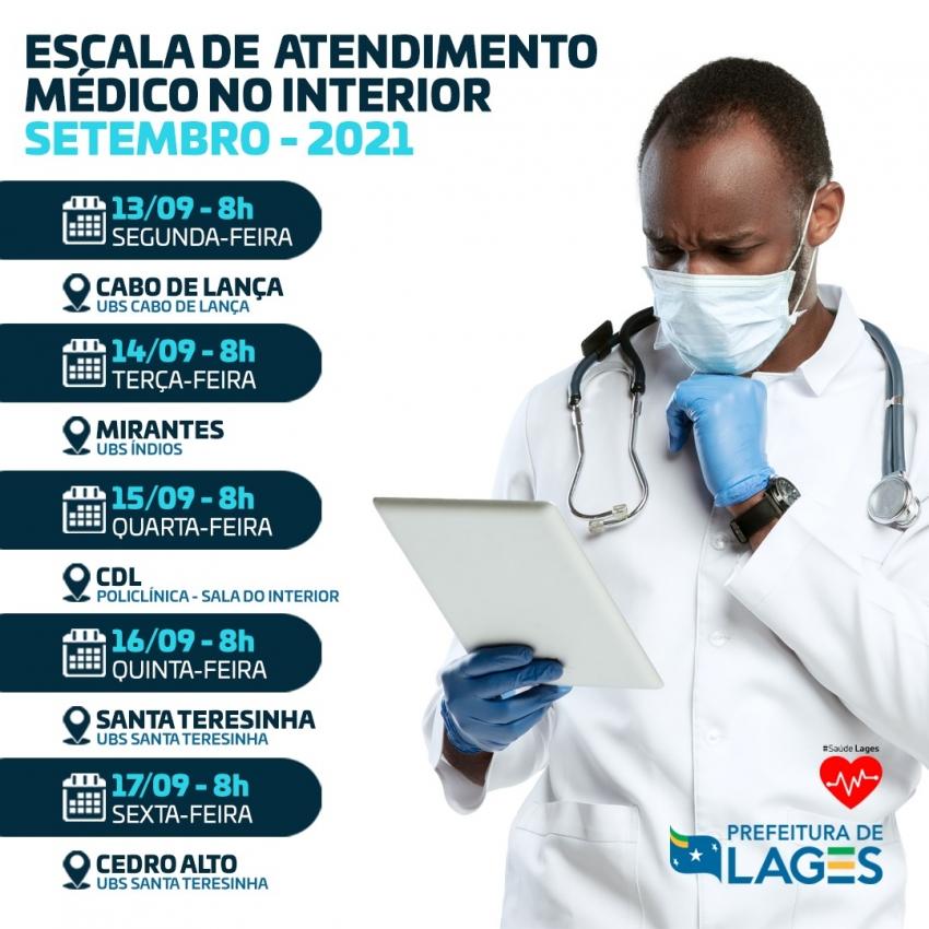 Programação de atendimentos médicos no interior de Lages - 2021-09-13 08:30:52
