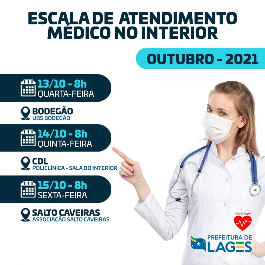 Programação de atendimentos médicos no interior de Lages - 2021-10-13 08:44:47