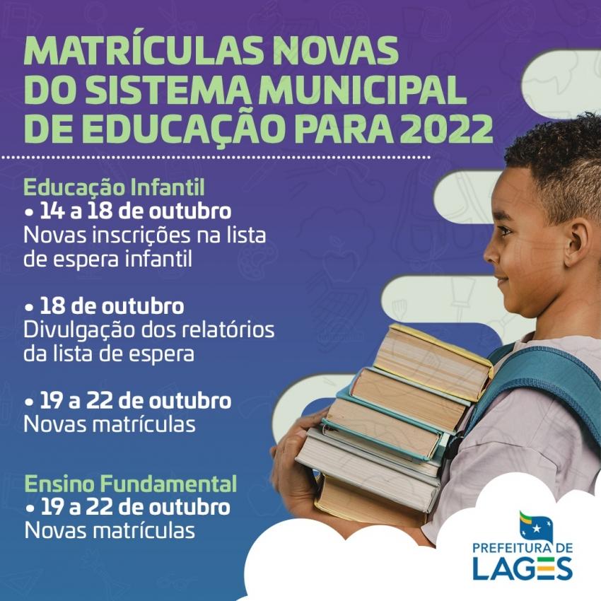 Educação Municipal: matrículas novas para o ano letivo de 2022 iniciam nos próximos dias - 2021-10-14 11:03:45